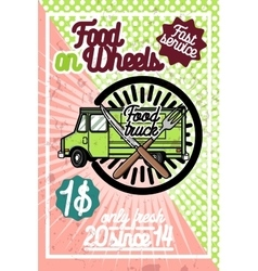 Color vintage Food truck poster vector