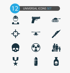 Combat icons set collection weapons cranium vector