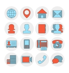 Contact outline icons flat vector