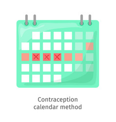 contraception method - ovulation calendar vector image