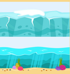 Cross section of sea water ecology natural vector