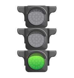 Crossroad semaphore green light icon cartoon vector