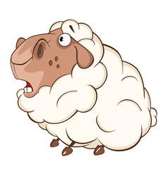 Cute sheep cartoon character vector