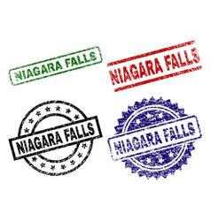 Damaged textured niagara falls seal stamps vector