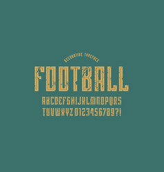 Decorative narrow sans serif font in sport style vector