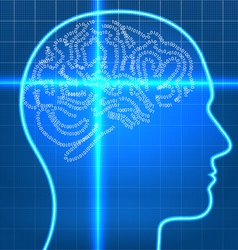 Digital artificial brain on scan over blueprint pa vector image