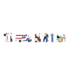 Doctors and sick patients flat isolated vector