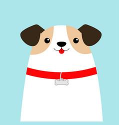 Dog face head white puppy pooch red collar bone vector