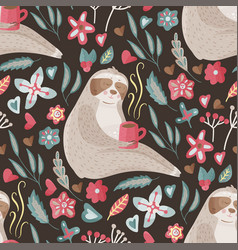 Eamless pattern with cute sloth vector