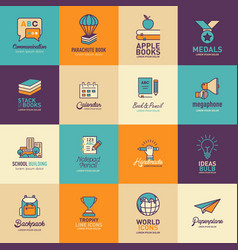 education logos templates set vector image