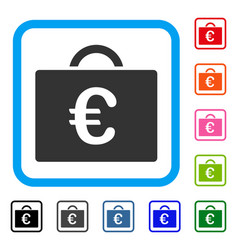 Euro bookkeeping case framed icon vector