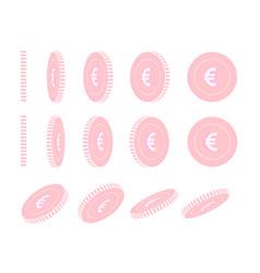 European union euro rotating coins set animation vector