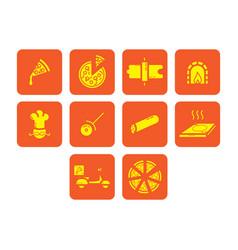 Flat color pizza icon set vector