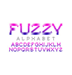 Fuzzy alphabet pink blue gradient font isolated vector