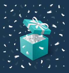 Gift box and silver confetti teal jewelry box on vector