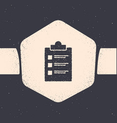 grunge clipboard with checklist icon isolated on vector image
