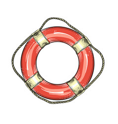 hand drawn sketch of lifebuoy in red and white vector image