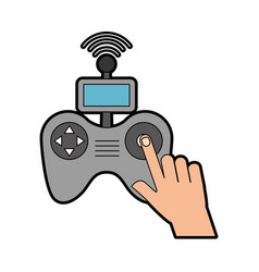 Hands human with drone remote control icon vector
