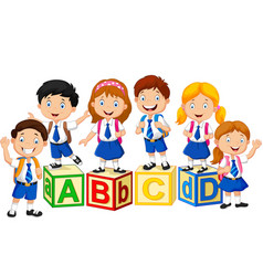 Happy school kids with alphabet blocks vector