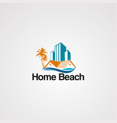 home beach logo icon element and template for vector image