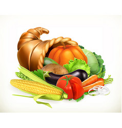 Horn plenty harvest vegetables cornucopia 3d vector
