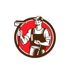 House Painter Holding Paint Roller Circle Woodcut vector