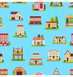 Houses front view seamless pattern vector