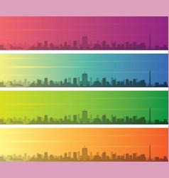 Houston multiple color gradient skyline banner vector