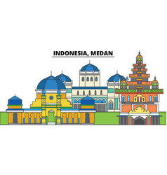 Indonesia medan city skyline architecture vector
