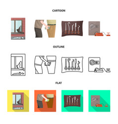 Isolated object crime and steal sign set of vector