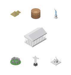 isometric travel set of india mosque coliseum vector image