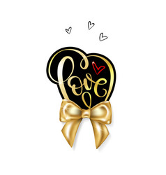 love word gold handwritten lettering vector image