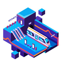Metro train station cross section vector