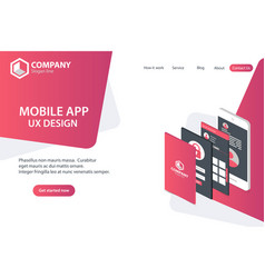 mobile app website landing page template concept vector image