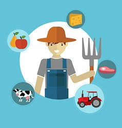 Modern flat concept of Farmer and Organic Clean vector image