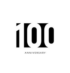 one hundred anniversary minimalistic logo vector image