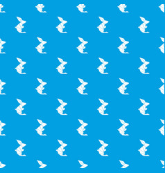 origami rabbit pattern seamless blue vector image