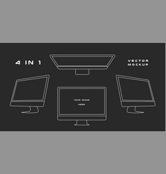 outline computer monitor isolated on black vector image