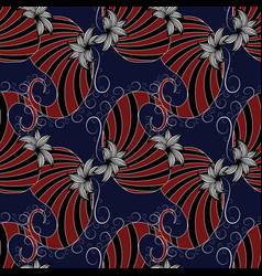 paisleys seamless pattern dark blue floral vector image