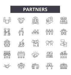 Partners line icons signs set linear vector