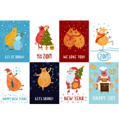 piggies new year cards vector image