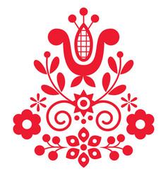 Polish cute folk art design with flowers vector