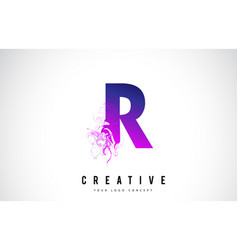r purple letter logo design with liquid effect vector image