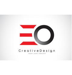 Red and black eo e o letter logo design creative vector