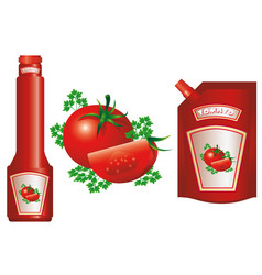 red ripe tomatoes with herbs design of healthy vector image