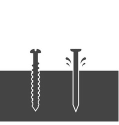 screw and nail driven into the surface vector image