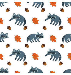 seamless pattern with raccoon vector image