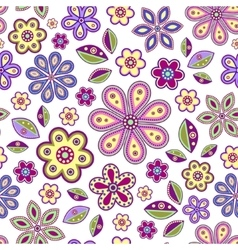 seamless with colorful flowers vector image
