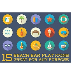 set beach sea bar flat icons elements and vector image