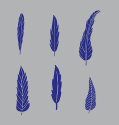 set of hand drawn blue feathers on grey background vector image vector image
